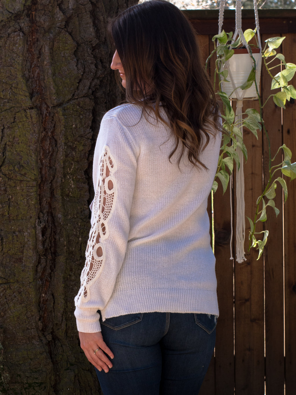 Crochet Sleeve Sweater - Enclothe Boutique