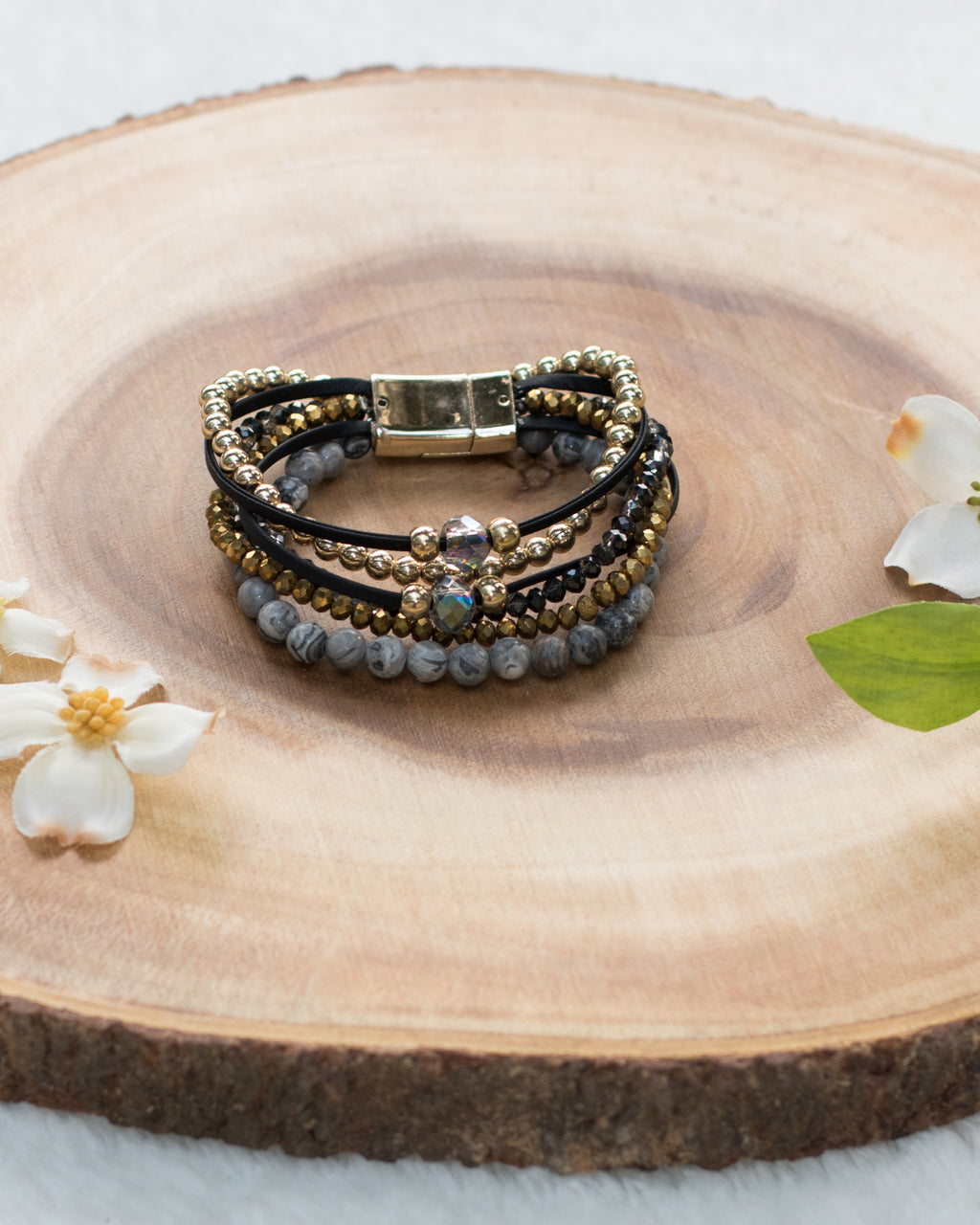 Multi Strand Bead & Leather Bracelet - Enclothe Boutique
