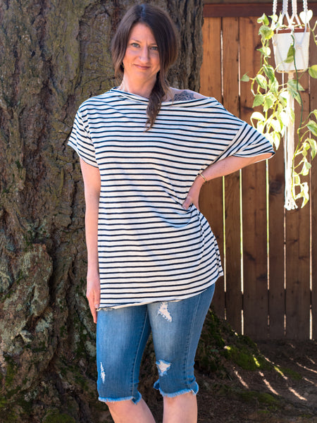 Striped Off the Shoulder Tee - Enclothe Boutique