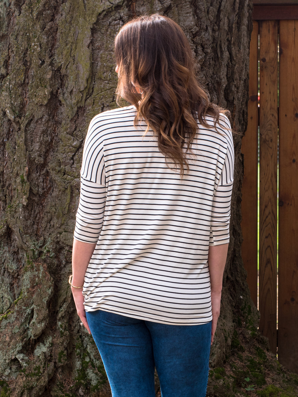 Knotted Little Tee in Black & White Stripe - Enclothe Boutique