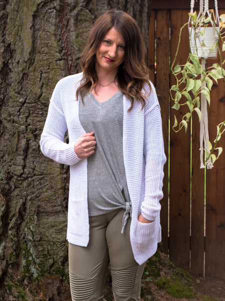 Chunky Cardigan Sweater in White - Enclothe Boutique