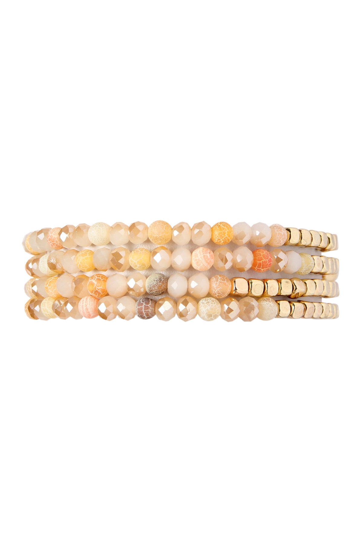 Beaded Stretch Bracelets in Peach - Enclothe Boutique