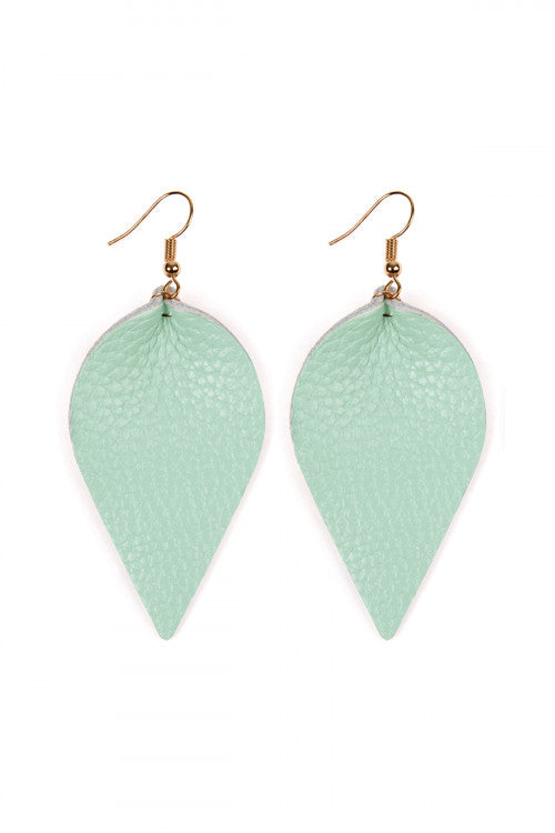 Leather Leaf Earrings in Mint - Enclothe Boutique