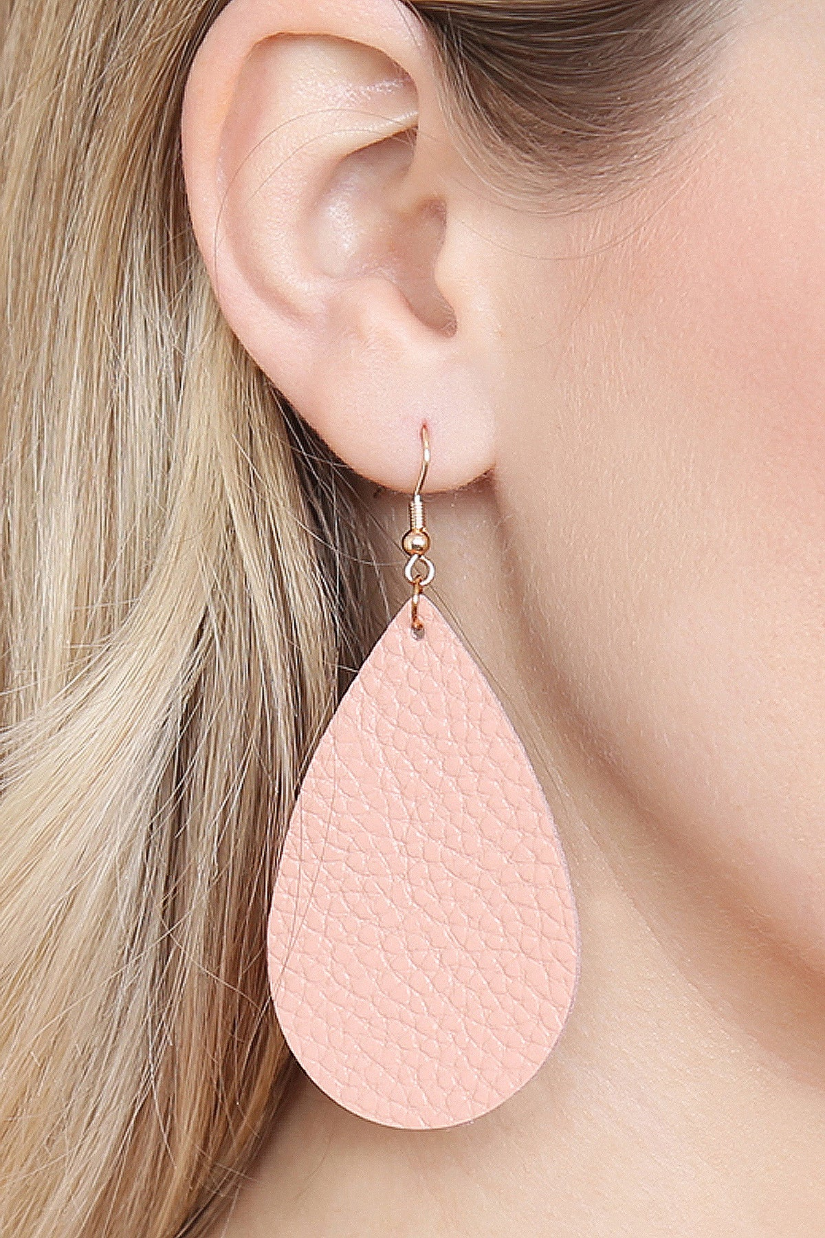 Leather Teardrop Earrings in Blush - Enclothe Boutique