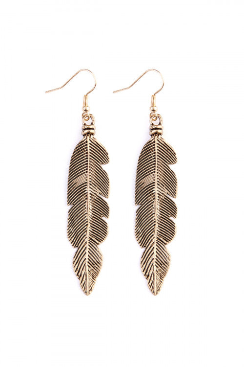 Gold Feather Etched Drop Earrings - Enclothe Boutique