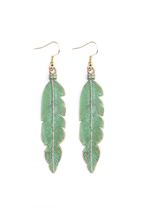 Mint Feather Etched Drop Earrings - Enclothe Boutique