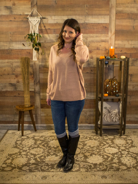 Twisted Sister Sweater in Blush - Enclothe Boutique