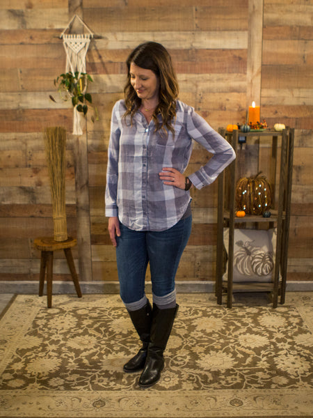 Mad For Plaid Button Up in Gray - Enclothe Boutique