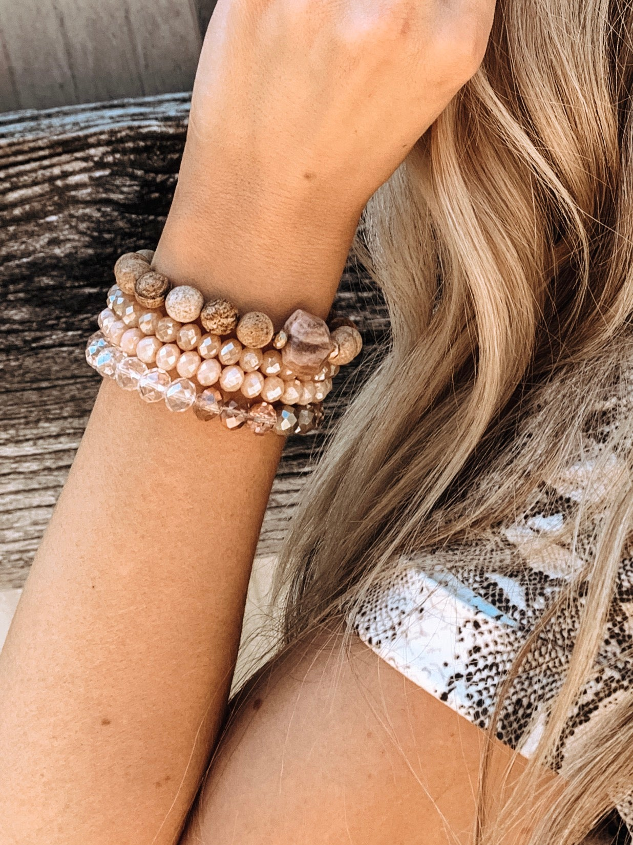 Natural Stone and Bead Stretch Bracelet Set - Enclothe Boutique