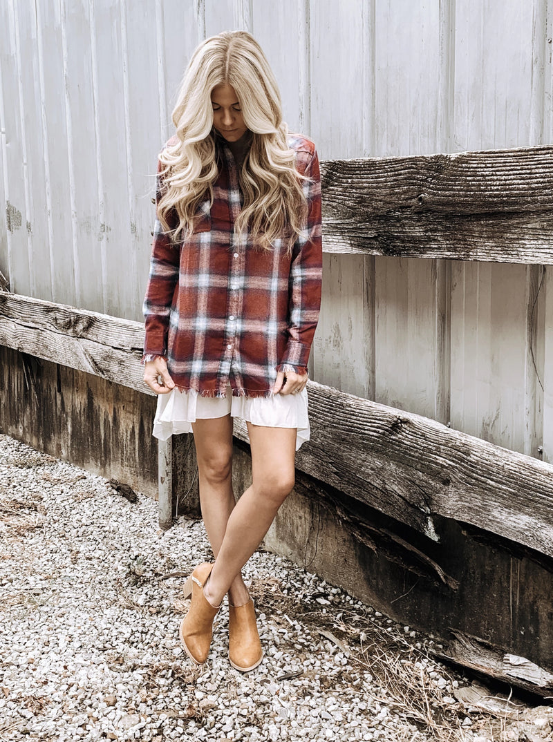 Frayed Flannel Tunic in Burgundy - Enclothe Boutique