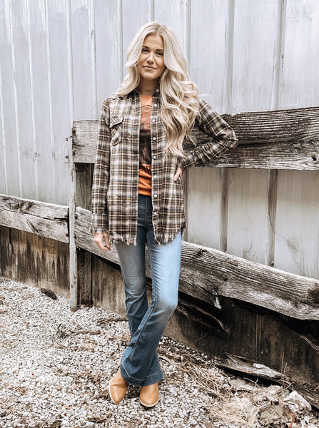 Frayed Flannel Tunic in Brown & Taupe