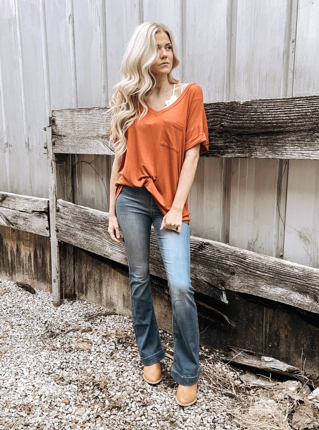 Not Your Boyfriend's Slouchy Tee in Rust - Enclothe Boutique