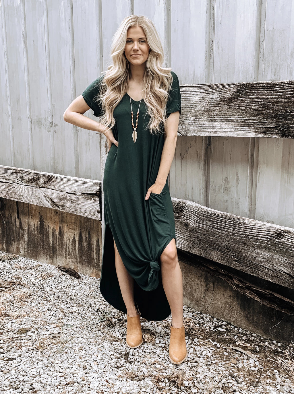 Lazy Sunday Knotted Dress in Green - Enclothe Boutique