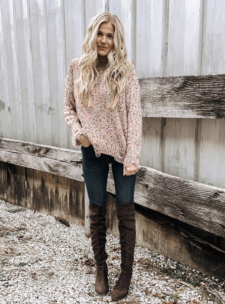 Distressed Confetti Sweater in Taupe