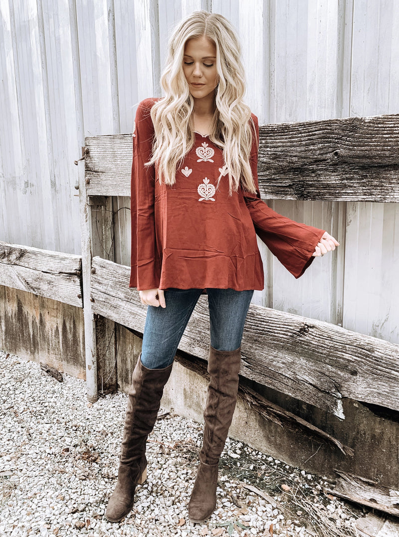 Embroidered Top with Bell Sleeves - Enclothe Boutique