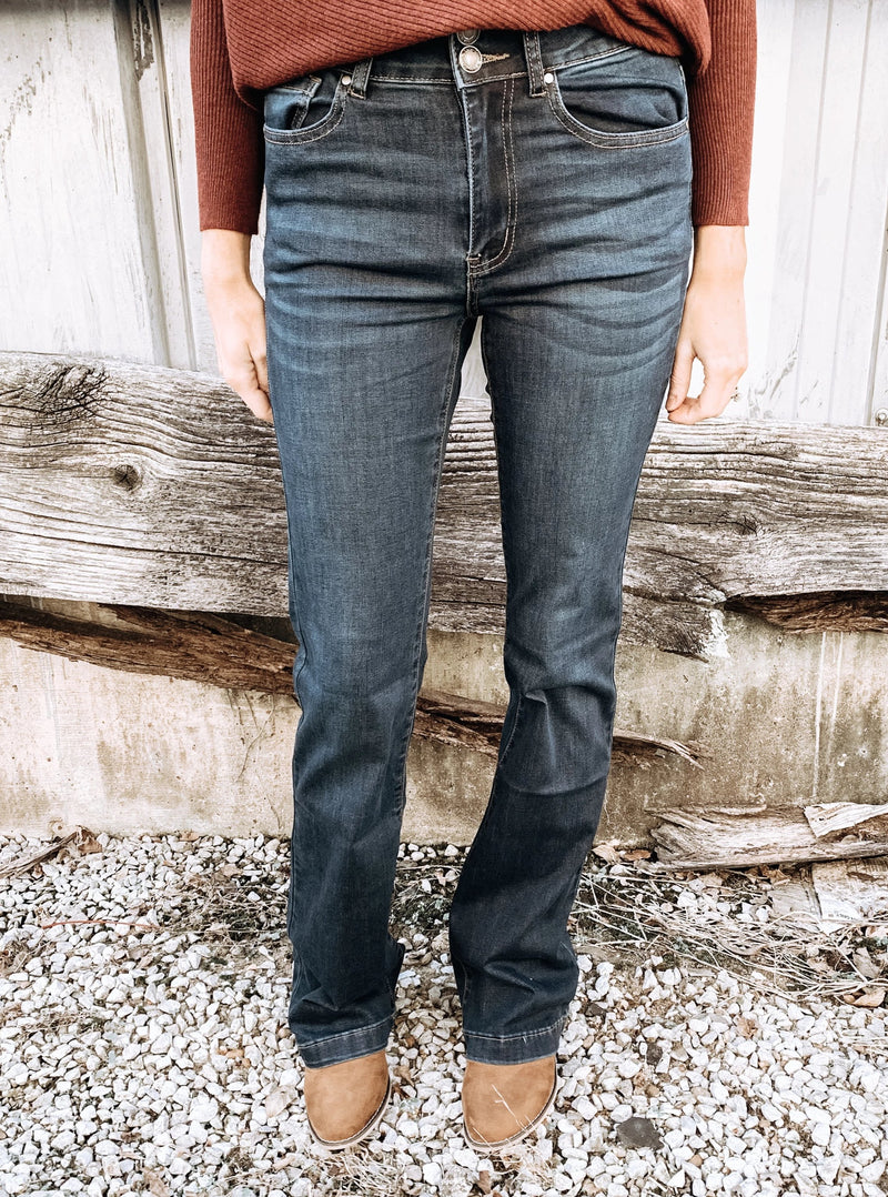 Dark Mini Flare Jeans - Enclothe Boutique