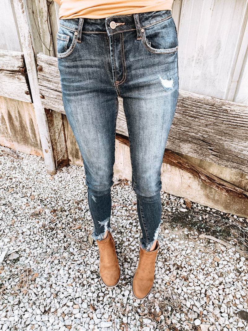 Distressed Hem Skinny Jeans - Enclothe Boutique