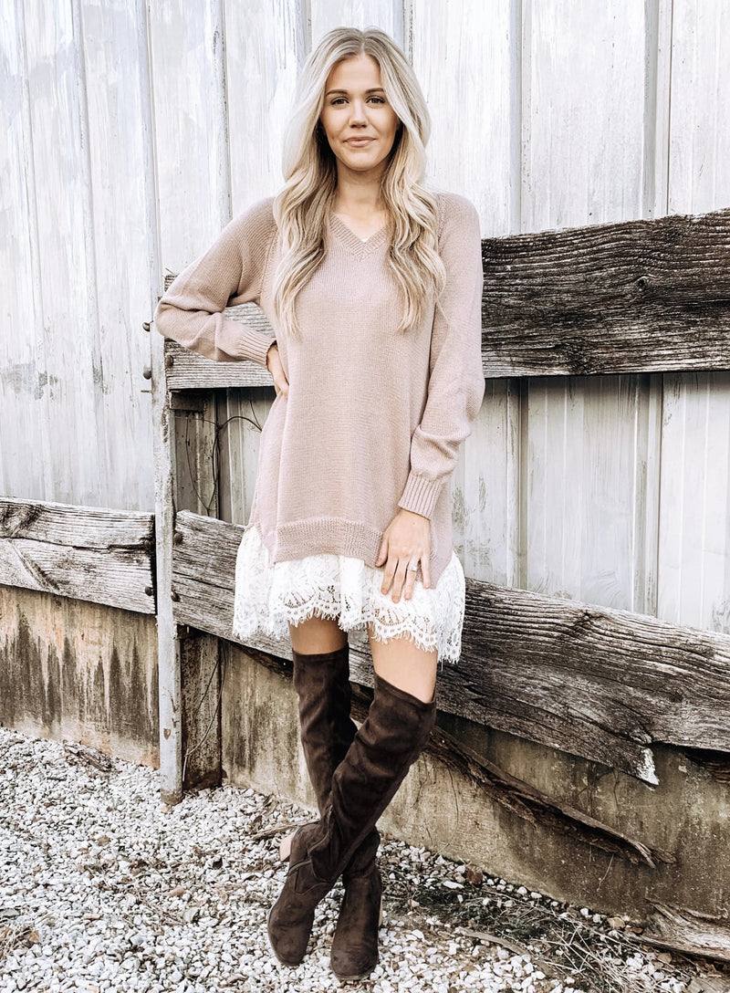 Flirty & Femme Sweater Dress - Enclothe Boutique