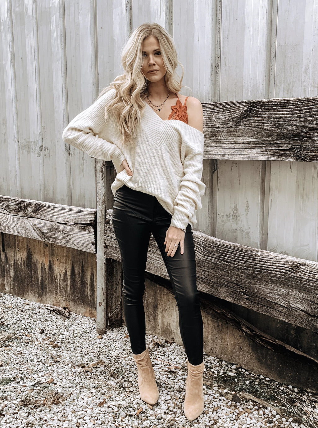 Deep V-neck Sweater in Winter White - Enclothe Boutique