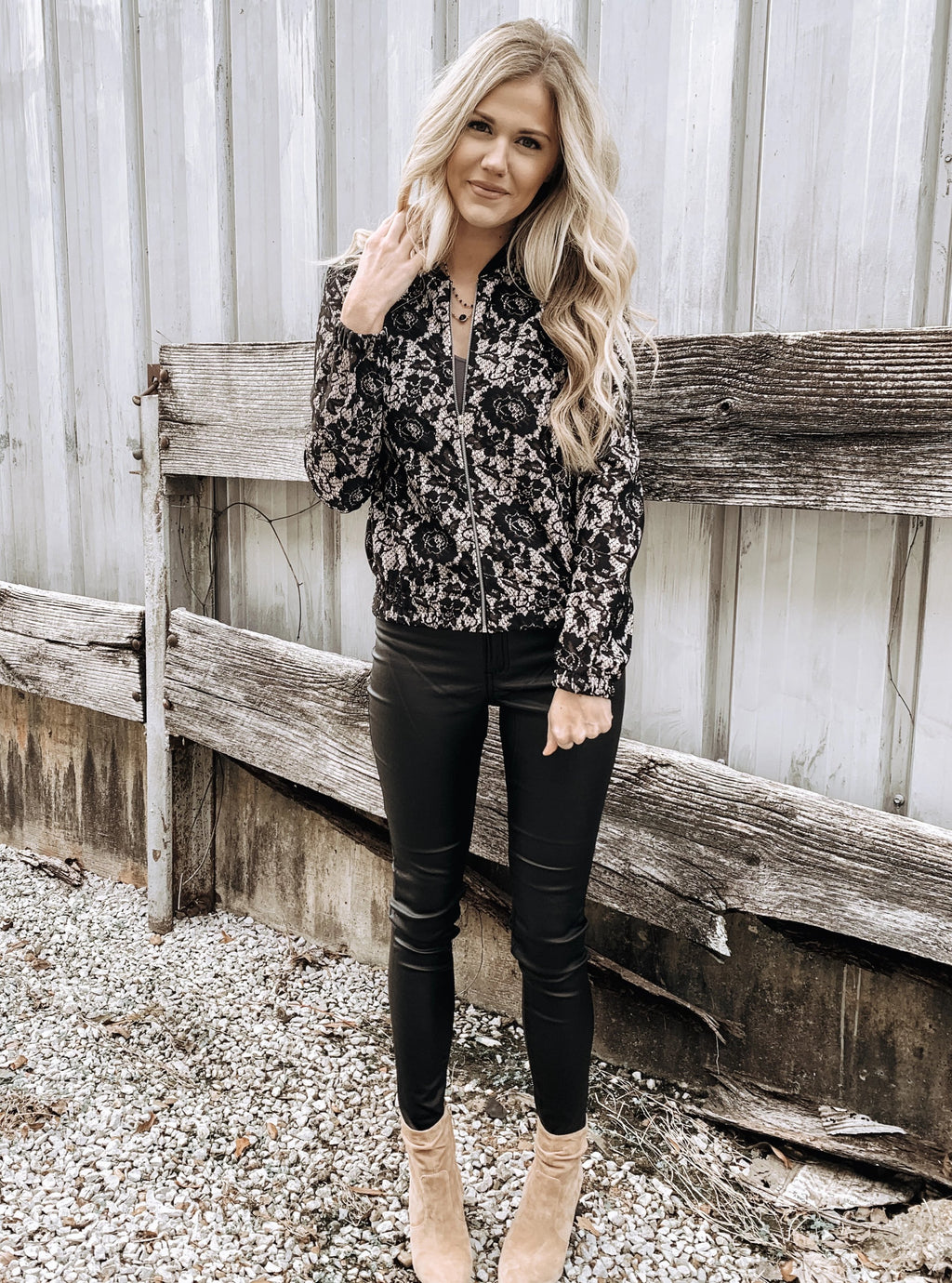 Lace Bomber Jacket - Enclothe Boutique
