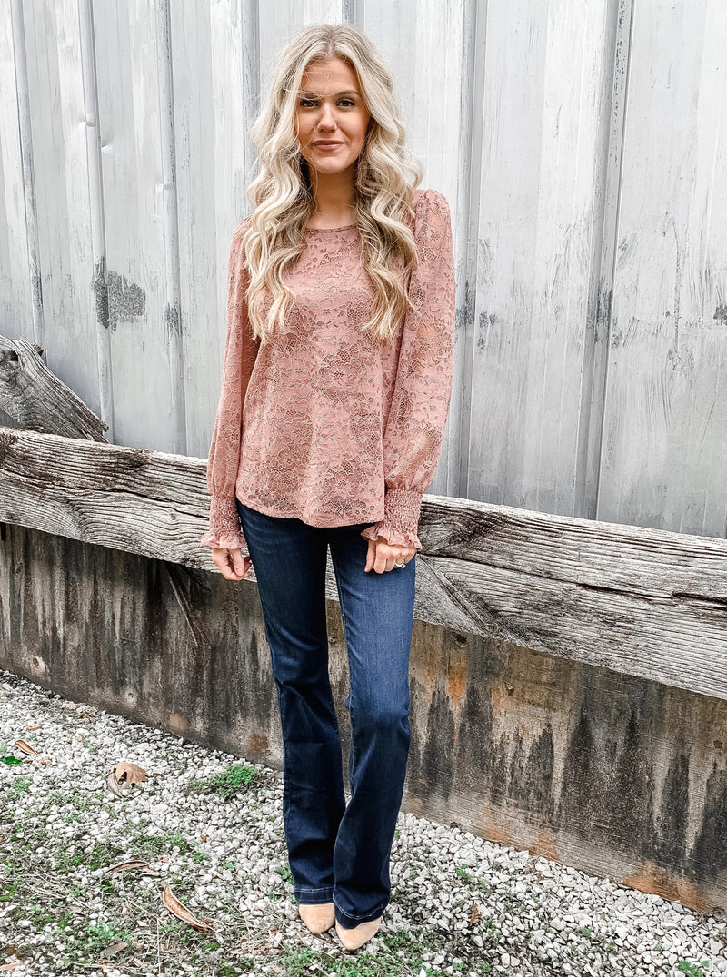 Marvelous Mauve Lace Blouse - Enclothe Boutique