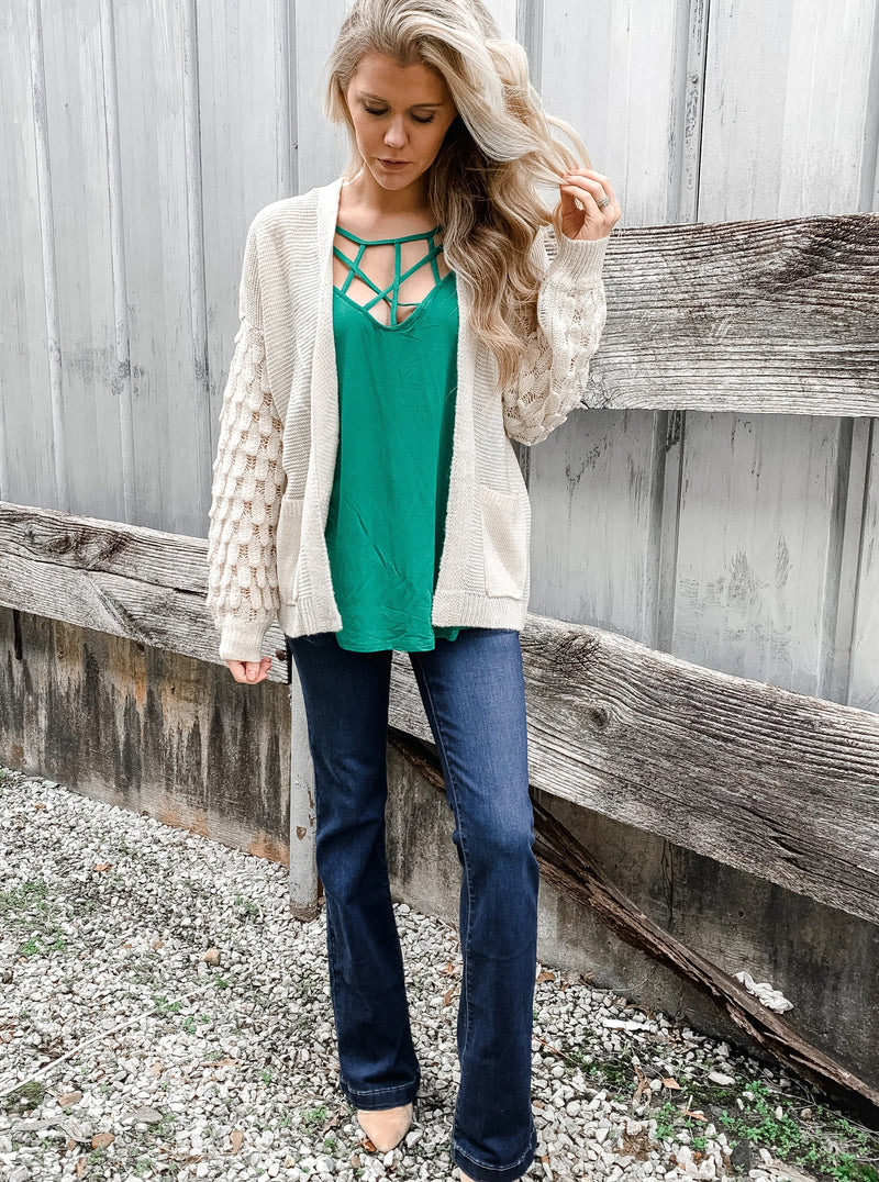 Textured Sleeve Off White Cardigan - Enclothe Boutique