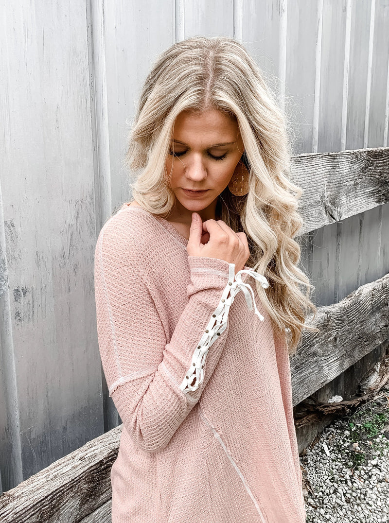 All Laced Up Thermal Pullover - Enclothe Boutique