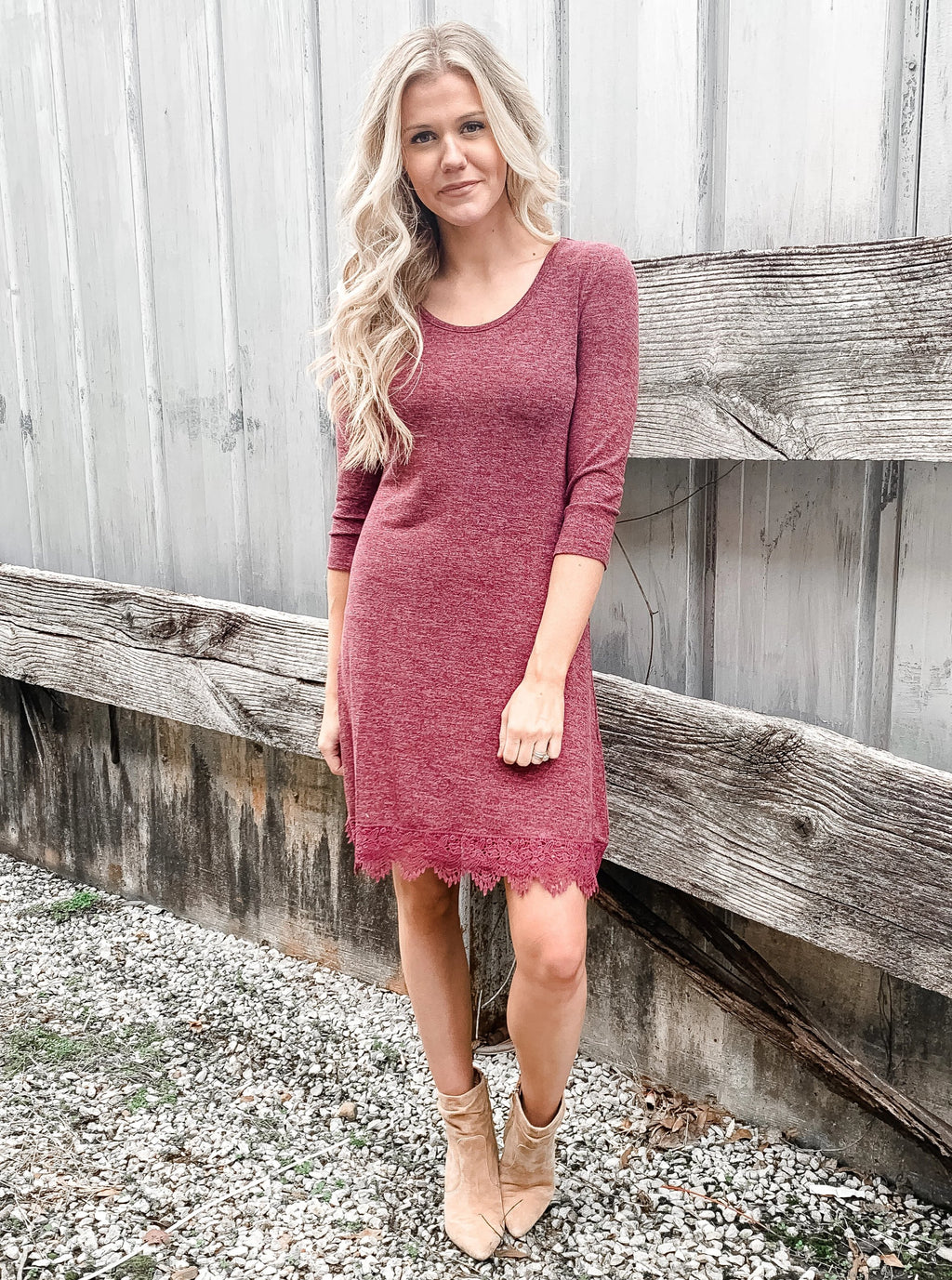 Burgundy & Lace Sweater Dress - Enclothe Boutique