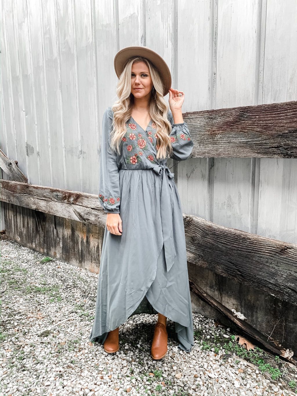 Embroidered Maxi Dress - Enclothe Boutique