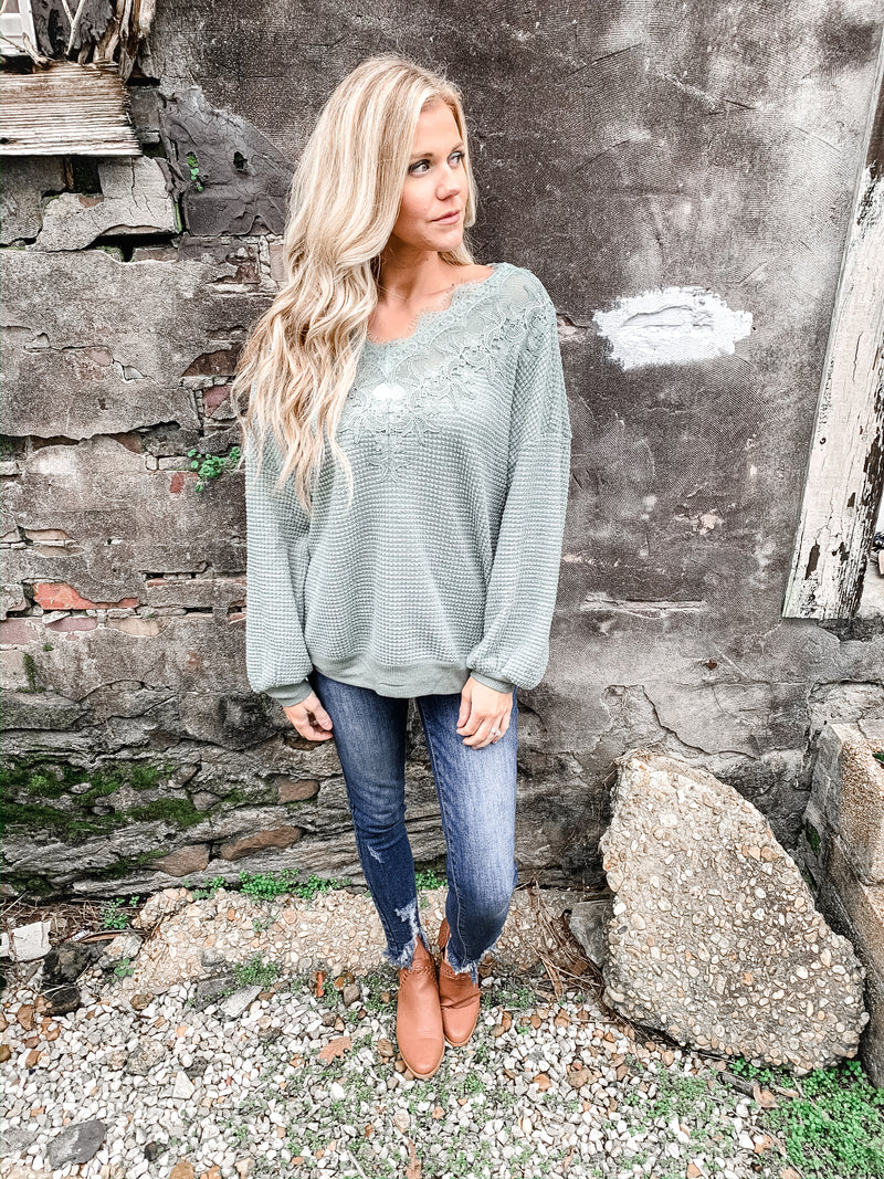 Lace-y Days Thermal Pullover - Enclothe Boutique