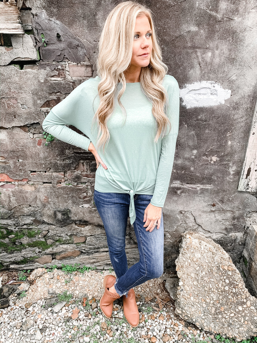 Silky Soft Layering Top in Sage - Enclothe Boutique