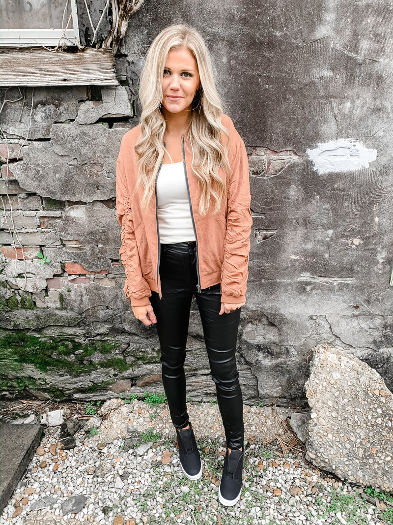 Bombshell Blush Bomber Jacket - Enclothe Boutique