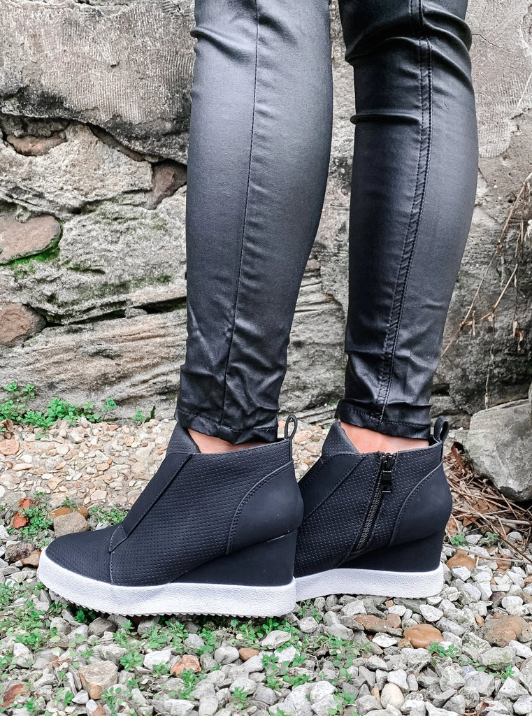 Black Wedge Sneakers - Enclothe Boutique