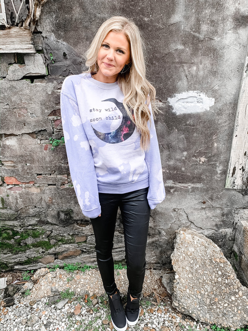 Stay Wild Moon Child Bleached Sweatshirt - Enclothe Boutique