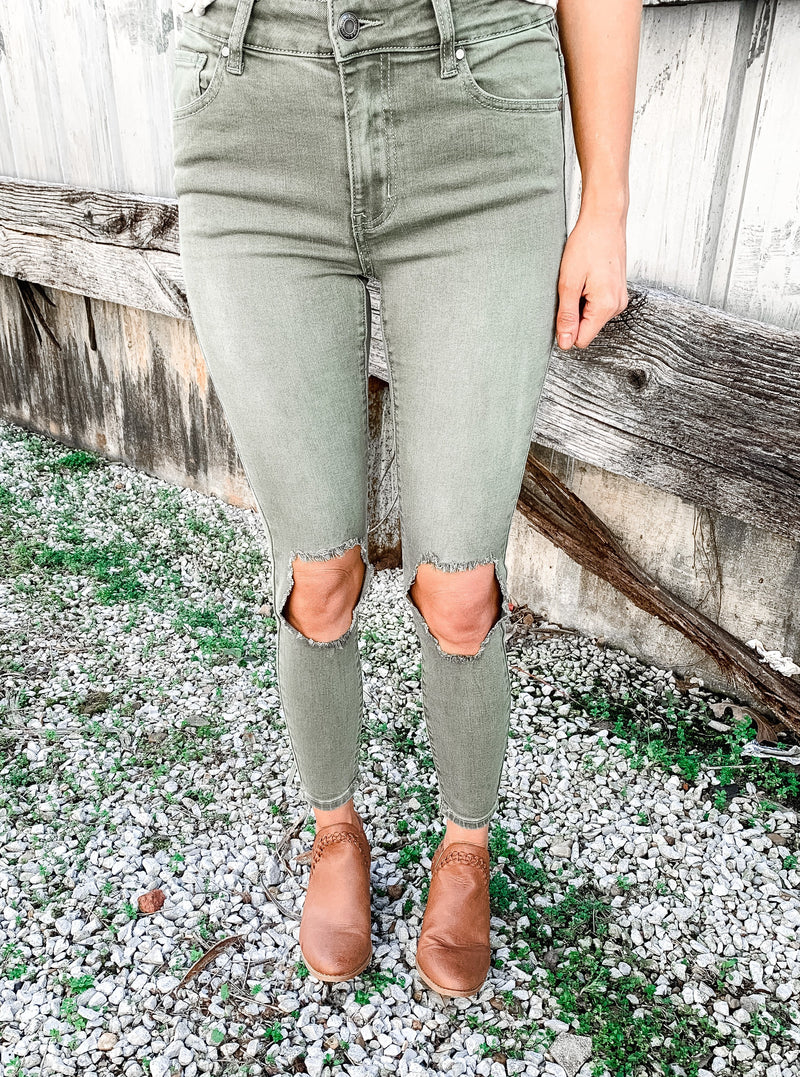 Green Distressed Knee Jeans - Enclothe Boutique