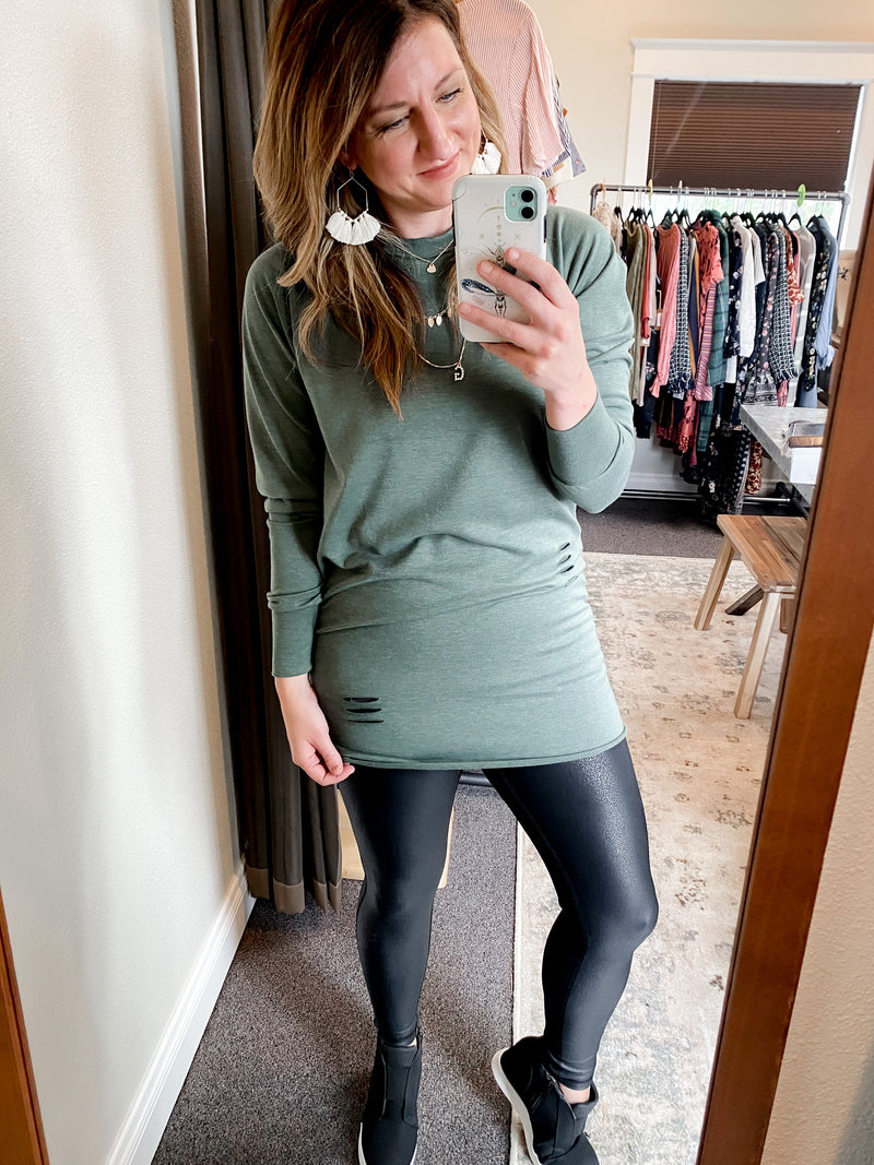 Distressed Heather Olive Tunic