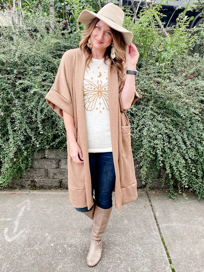 Long Ribbed Cardigan in Camel