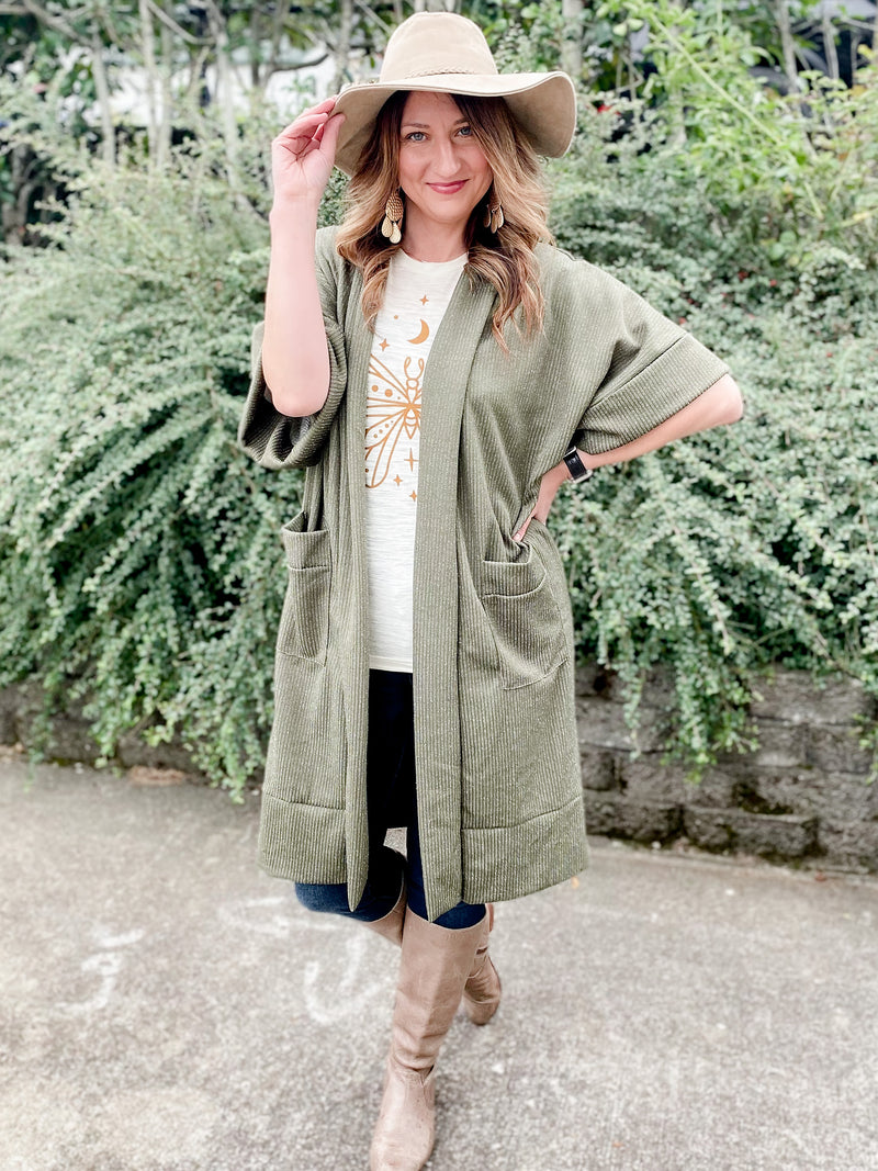 Long Ribbed Cardigan in Olive