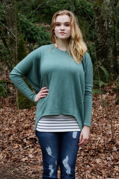 Perfect Slouchy Sweater in Sage - Enclothe Boutique