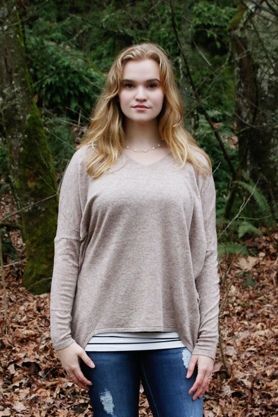 Perfect Slouchy Sweater in Taupe - Enclothe Boutique