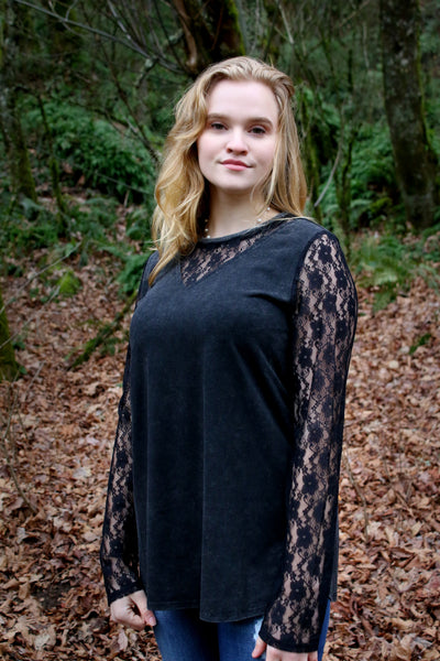 Wear Lace on Your Sleeve Top in Black - Enclothe Boutique