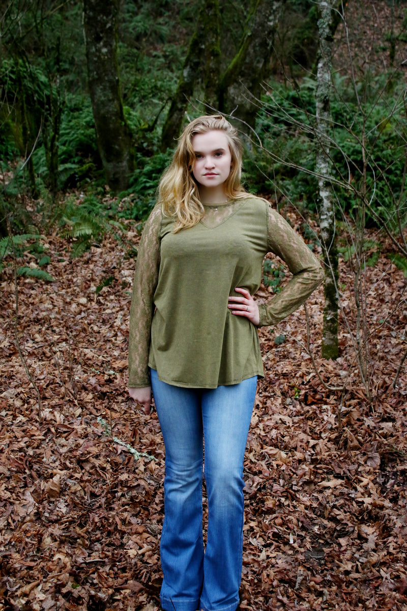 Wear Lace on Your Sleeve Top in Green - Enclothe Boutique