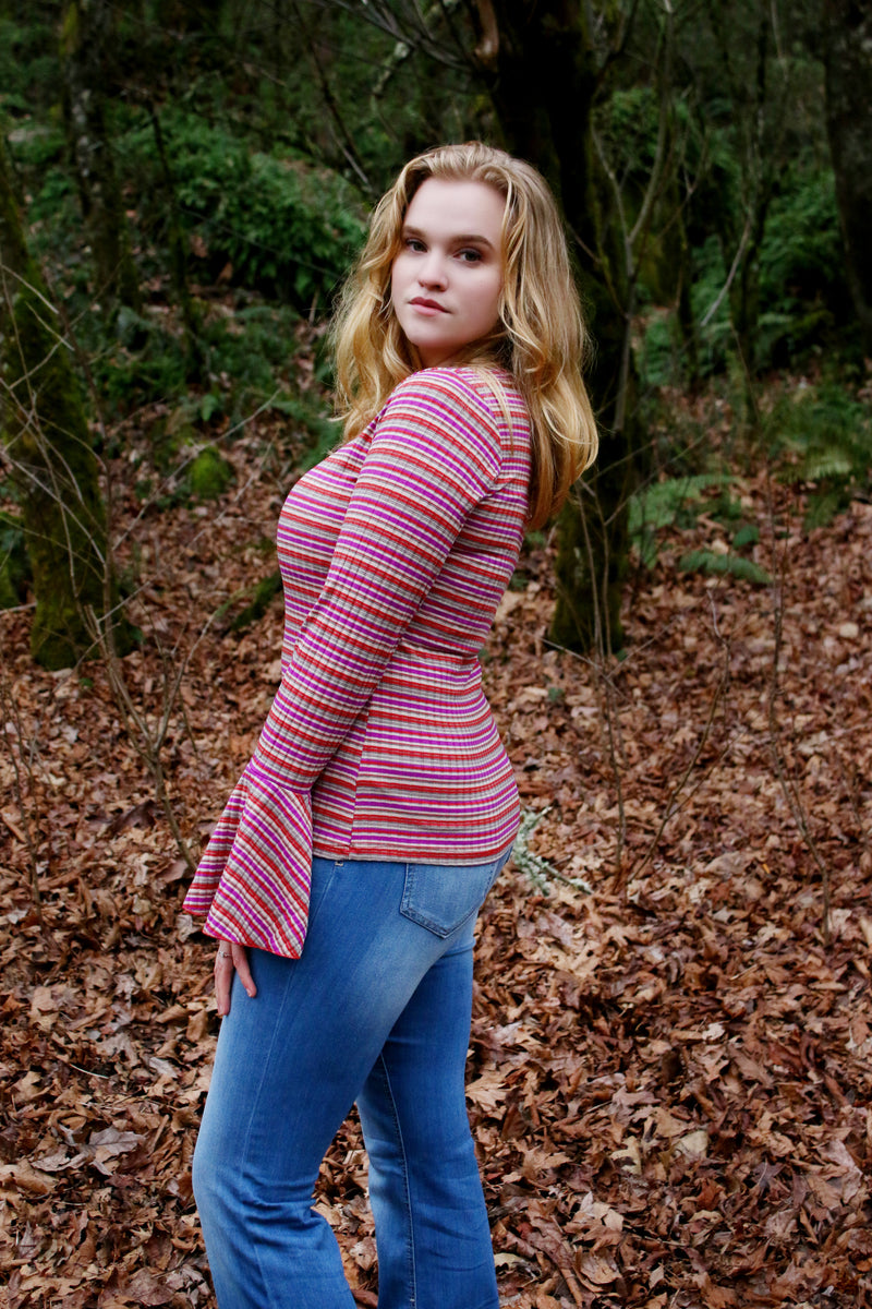 70's Chic Striped Top - Enclothe Boutique