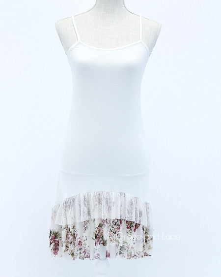 Rose Floral Mesh High Low Extender