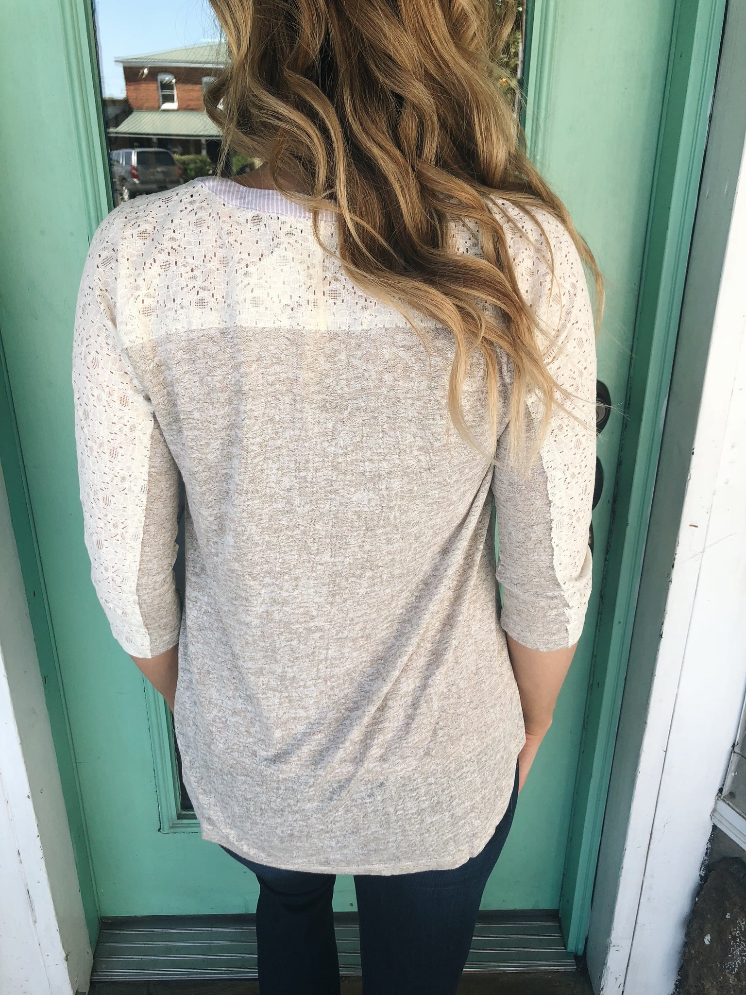 Charming Lace Sleeve Henley