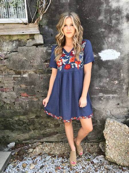 Fall's Blooming Flowers Dress - Enclothe Boutique