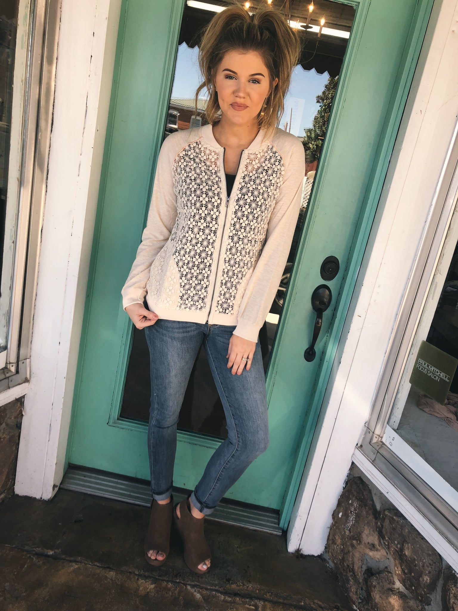 Spring Lace Bomber Cardigan