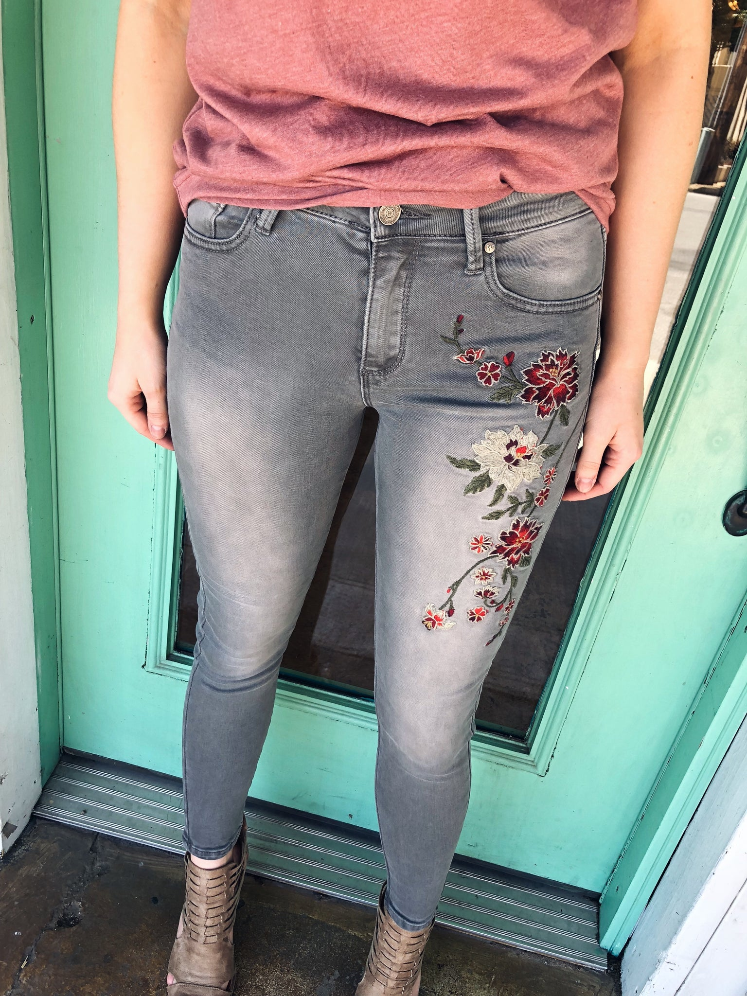 Perfect Embroidered Jeans in Grey - Enclothe Boutique