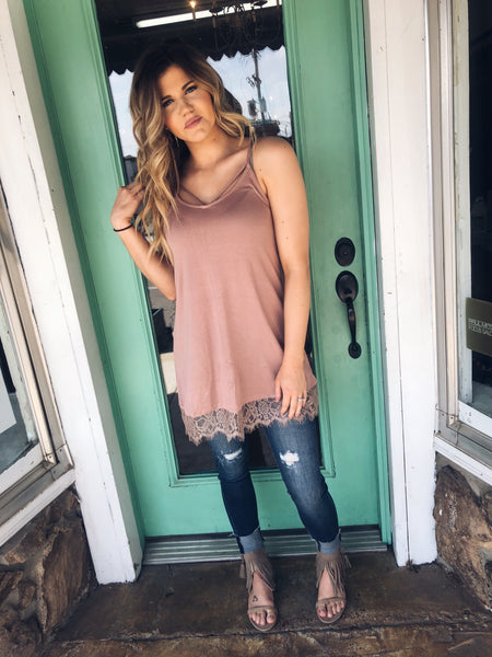 Strappy Tank with lace bottom in Mauve - Enclothe Boutique