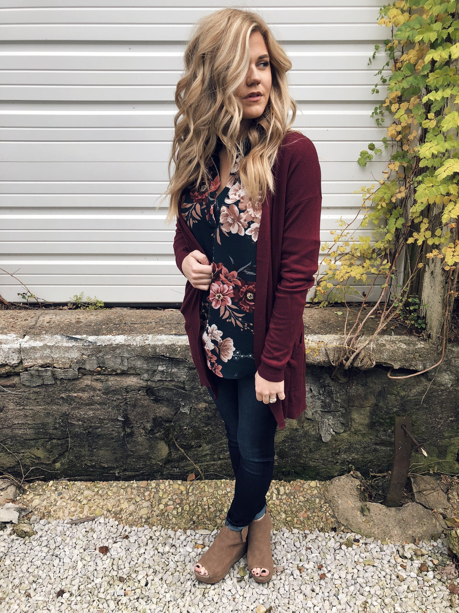 Perfect Boyfriend Cardi in Burgundy